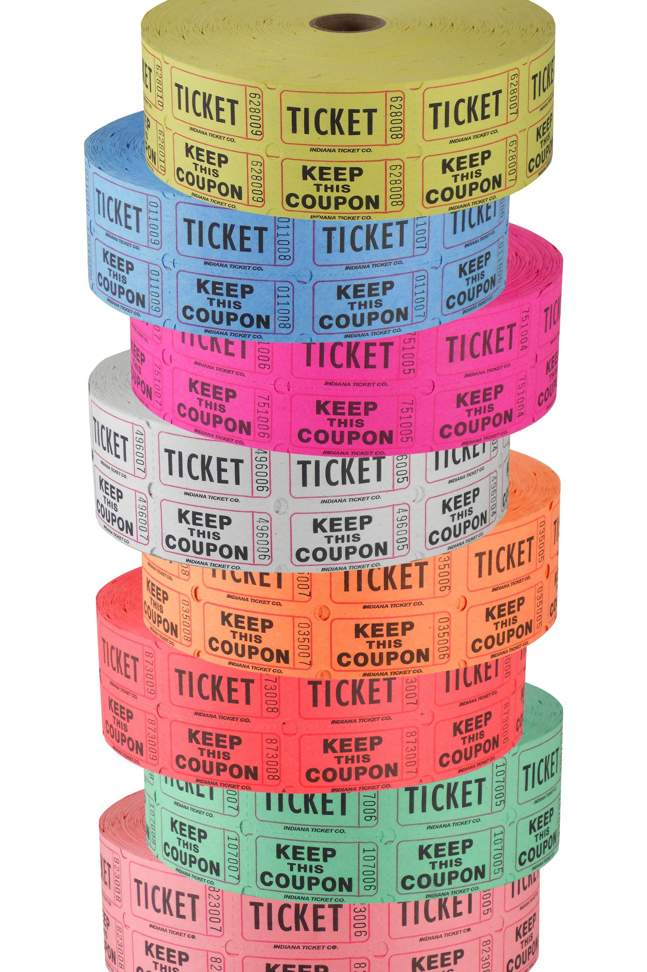 Double Roll Raffle Ticket Tower, '50/50' - Deposit One, Keep One Set of 8 Colors - Includes Designer Deals Custom Raffle Ticket Winners Charts! by INDIANA TICKET CO