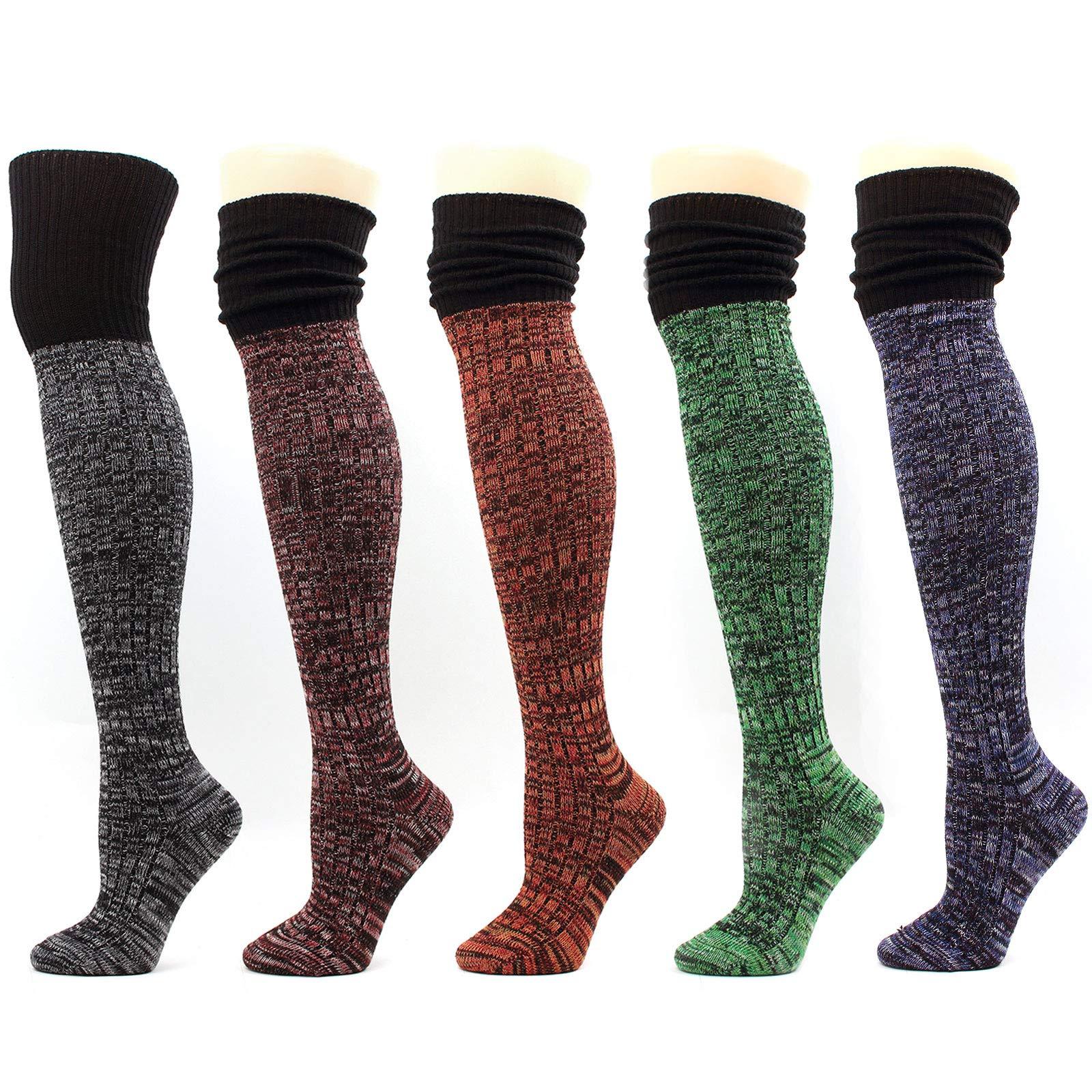 Women Over-The-Knee Thigh High Socks Leg warmer Knit Winter Leggings (A-Multi Pack 5pairs)