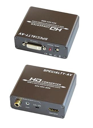 HDMI a DVI con Audio Converter digital S/PDIF Coaxial y adaptador de estéreo analógico