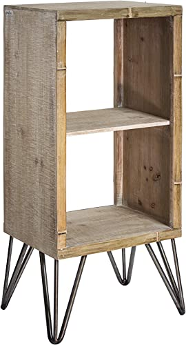 American Art D cor Rustic Wood and Metal Large End Table with Storage Shelf Farmhouse D cor 31