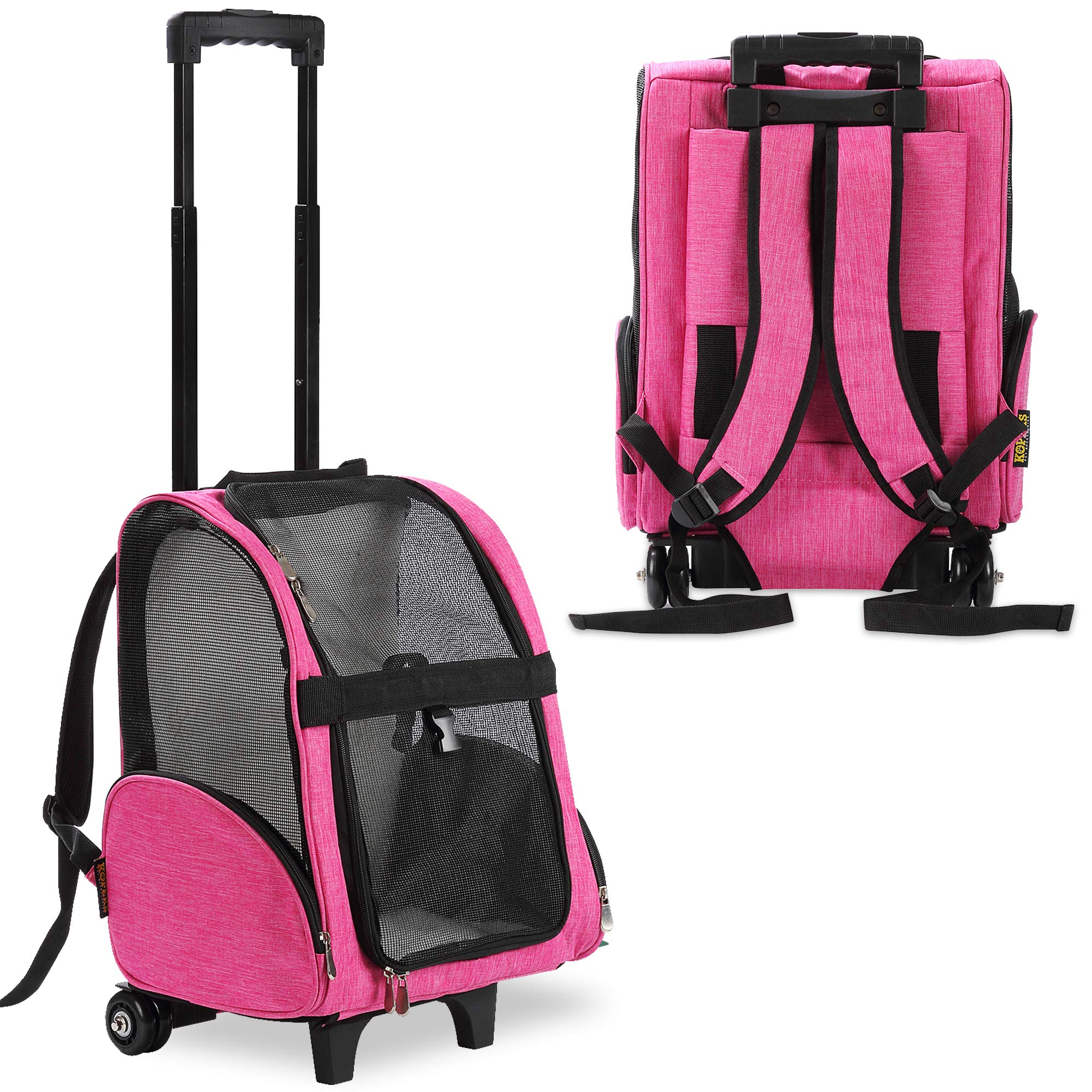 KOPEKS Deluxe Backpack Pet Travel Carrier with Double Wheels - Heather Pink - Approved by Most Airlines