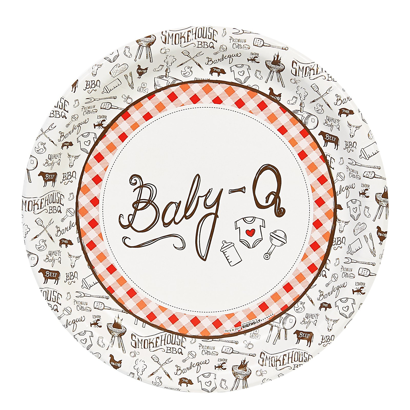 BirthdayExpress Baby Shower Summer BBQ Baby-Q Party 9'' Dinner Plates Pack (48)