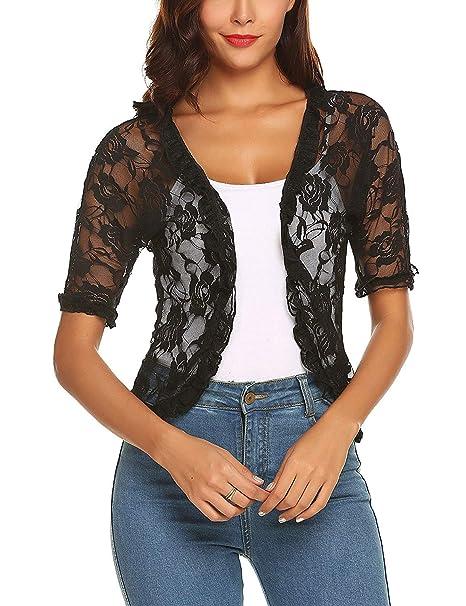 280dc56523489 ELESOL Ladies Sexy Lace Crochet Bolero Shrug Ruffle Sleeve Open Cardigan Crop  Top Black S