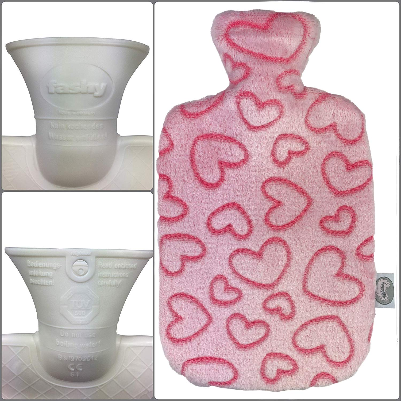 wei/ß Larovita W/ärmflasche mit Bezug waschbar flauschig 2 L fashy T/ÜV S/üd gepr/üft Baby Kinder Bettflasche geruchsfrei
