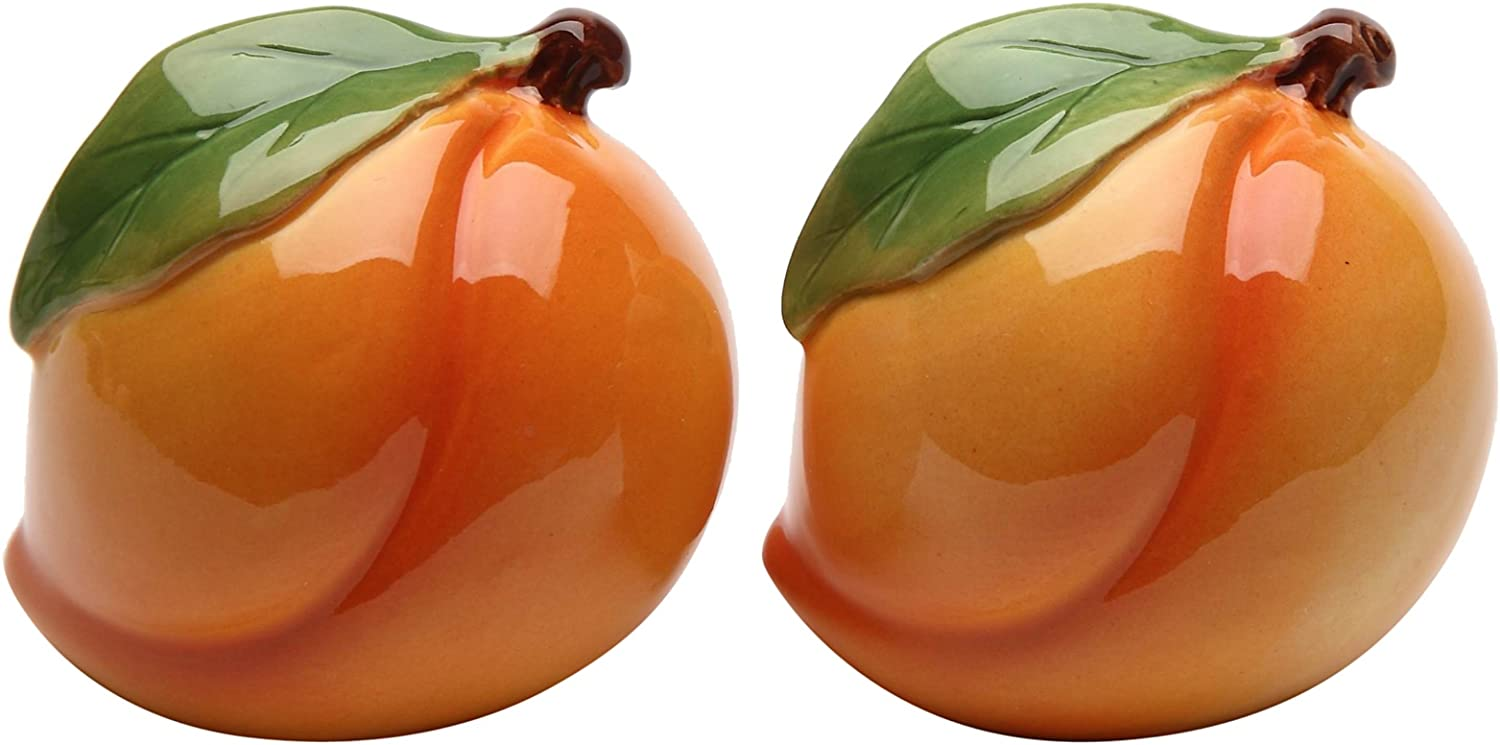 Cosmos Gifts Peach Salt and Pepper Set, Ceramic, 2-Inch