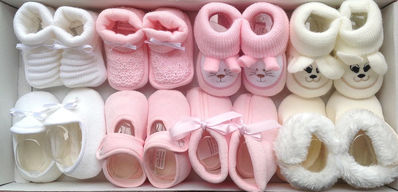 Patucos Bebe Niña 8 Pares De Punto Bebe y Tacto Terciopelo en Color Rosa ¡100 % GARANTIA DE DEVOLUCION DE SU DINERO! MELBEBE