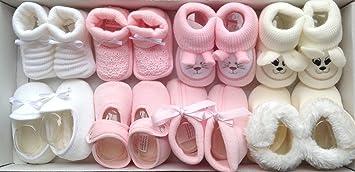 b1833558b Patucos Bebe Niña 8 Pares De Punto Bebe y Tacto Terciopelo en Color Rosa  ¡100