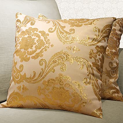 Attrayant Yeadous Gold Throw Pillows Covers Case, [2 Pack] Luxury Decorative Square  Pillow Shams