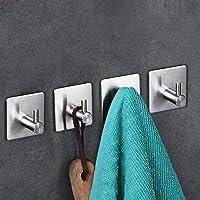 Adhesive Hooks, Heavy Duty Wall Hooks Stainless Steel Ultra Strong Waterproof Wall Hangers for Robe, Coat, Towel, Keys, Bags, Home, Kitchen, Bathroom(4 Pack)
