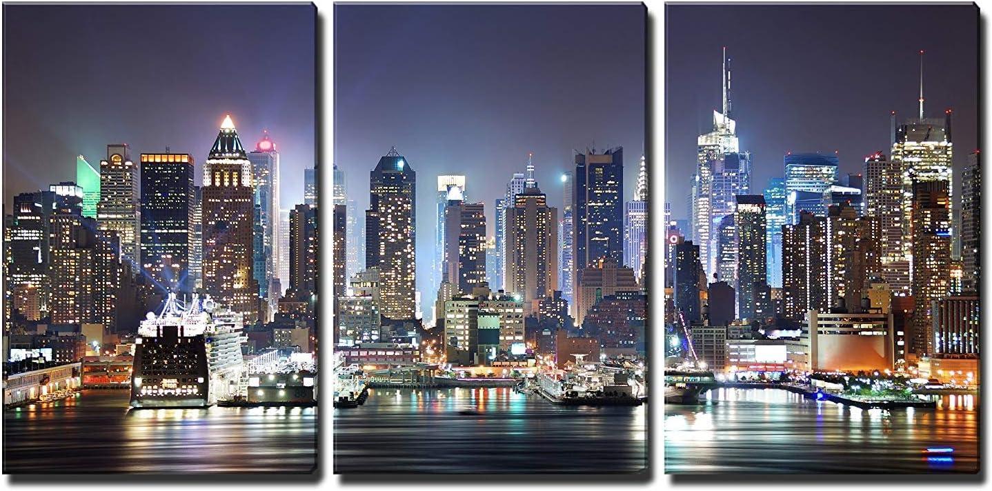 Amazon Com Wall26 Manhattan Skyline At Night Canvas Art Wall Art 24 X36 X3 Panels Home Kitchen