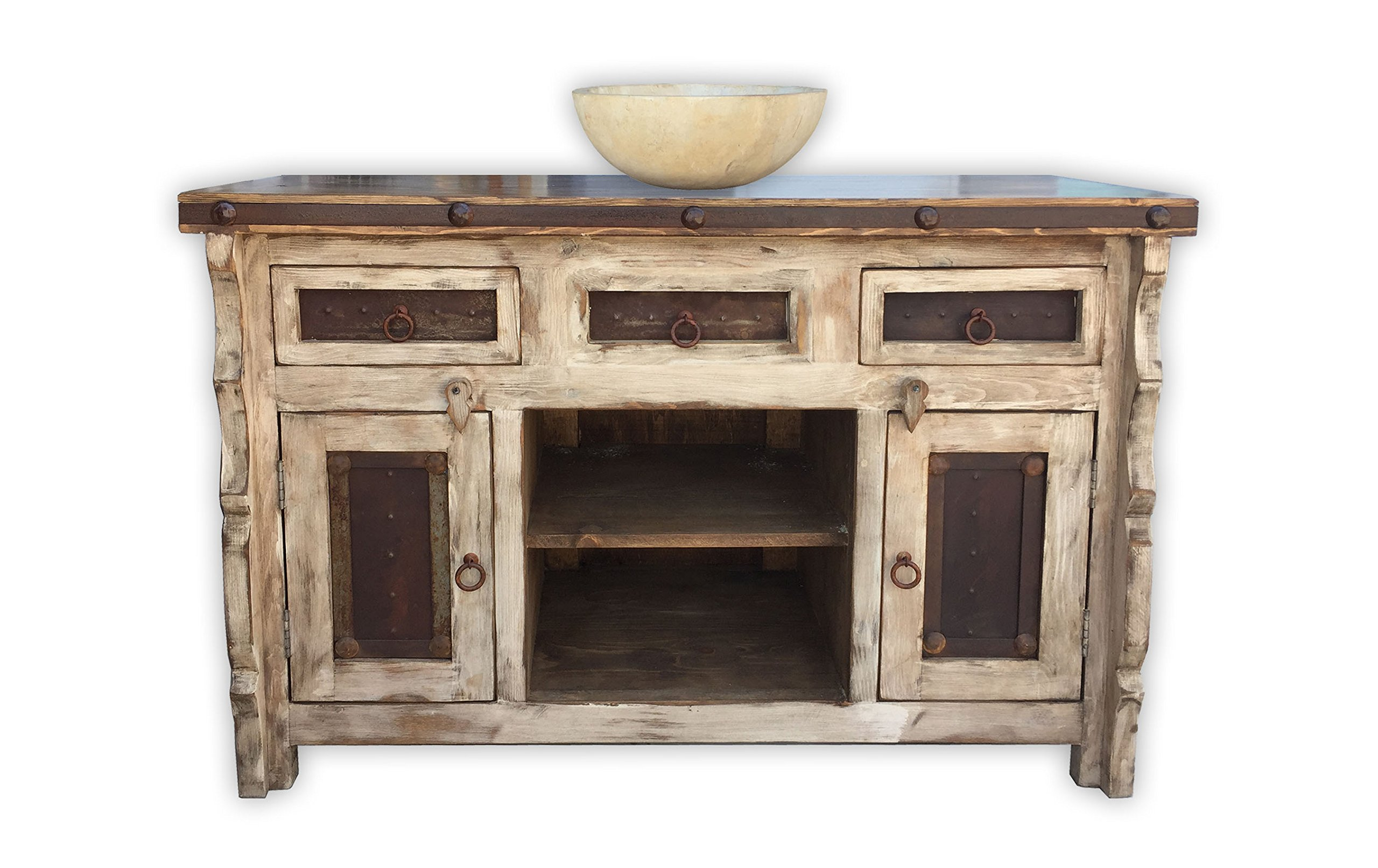 Rancho Collection Marshall 48'', Rustic Vanity with Metal Inserts, Vintage White by Rancho Collection