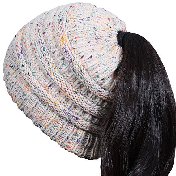 17dea6095 Woogwin Womens Winter Beanie Hat Messy Bun Ribbed Slouchy Knit Ponytail Hat