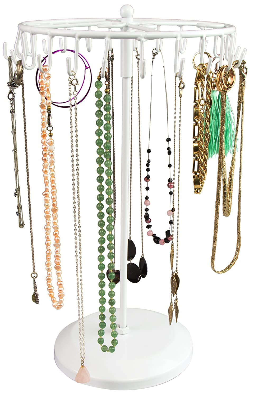 Espositore girevole gioielli con 24 ganci - Bianco 34 x 21 x 21 cm - Organizer per presentazione di bijoux - Grinscard