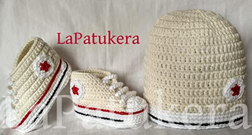 Conjunto Patucos para bebé de crochet, Unisex. Estilo Converse All Star, con gorro a juego, realizados en algodón, tallas de 0 hasta 9 meses, hechos a mano en España. Regalo: Amazon.es: Handmade