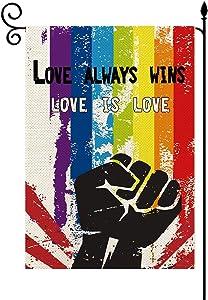 YaoChong Love Always Wins Rainbow Gay Pride Garden Flag LGBT Lesbian Flag Vertical Double Sized 12.5 x 18 Inch,Straight Love is Love Burlap Yard Outdoor Decoration