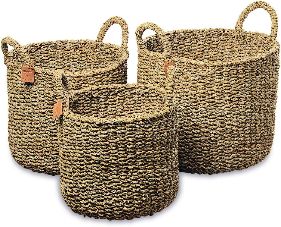 WHW Whole House Worlds Made by Nature Seagrass Baskets, Round Top Handles, Natural Chunky Sweater Weave, Set of 3, Made by Hand, from Over 1.5 Feet Tall to 1 Feet 2 Inches, Ideal for Storage