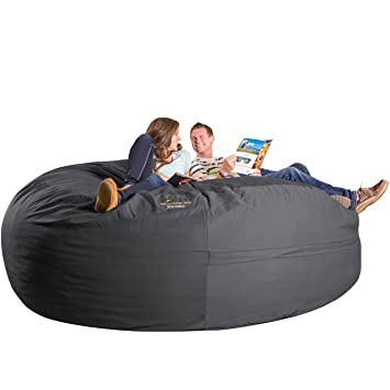 Xorbee 8 Foot Foam Filled Bean Bag Chair In Twill, Slate Grey