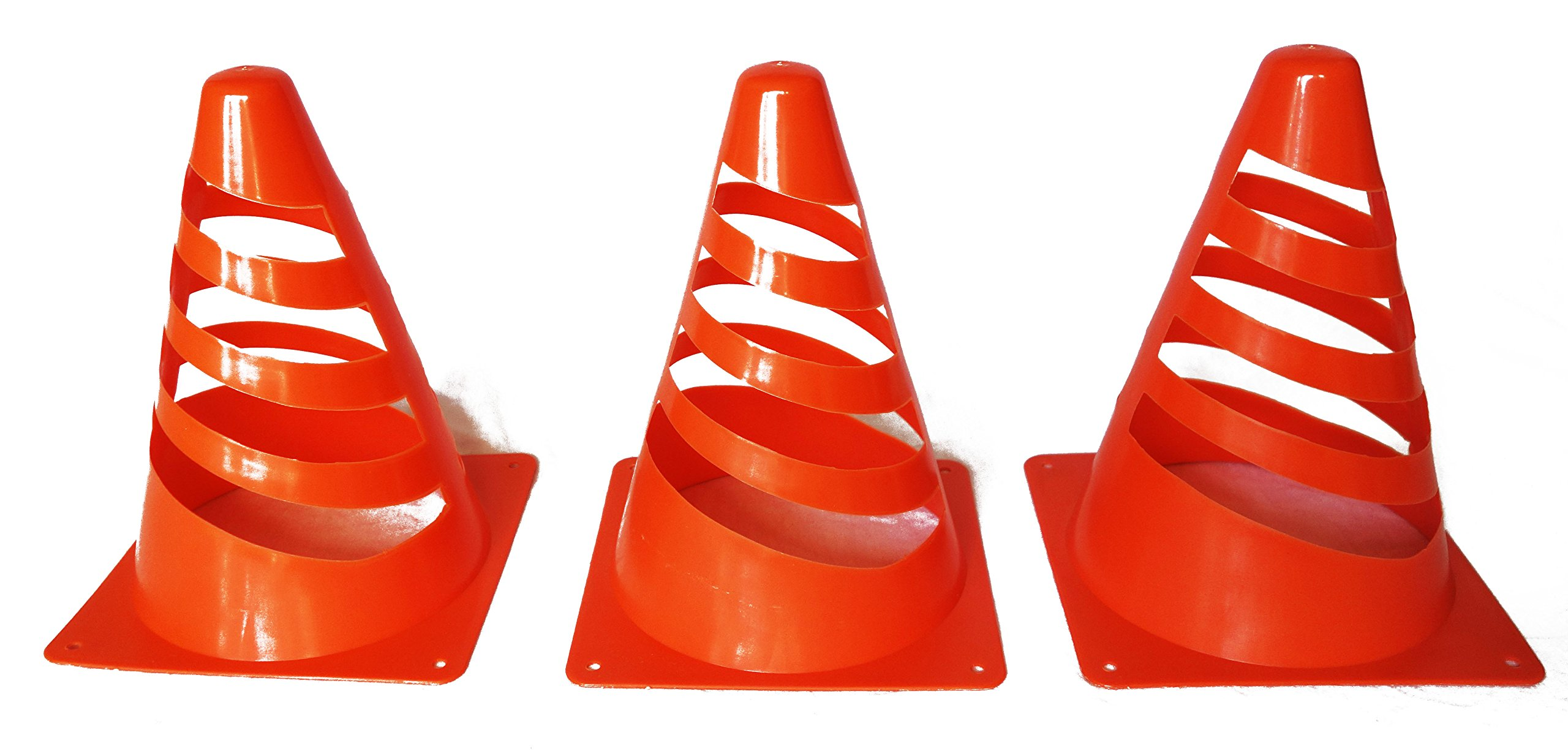 """Sport Mini Cone Set - Bright Orange – Perfect For Outdoor Fun and Safety – 6 Piece Set - 7"""" Tall – Multi-purpose – Agility Training, Soccer, Football, Field Marker – By Qornerstone"""