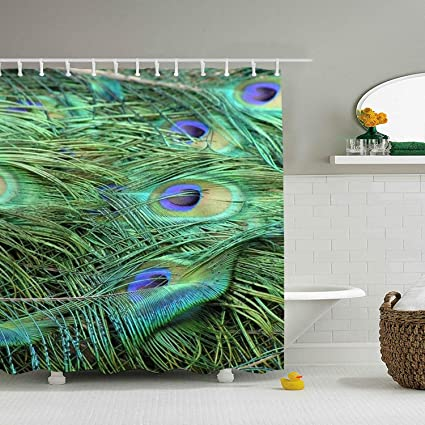 Amazon Com Shower Curtain Peacock Feather Wallpaper Print For