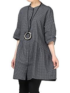 c9e09b8717 Mordenmiss Women s Plaid A-line Shirt Dress Button Down Half Sleeves Blouse