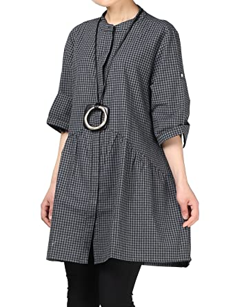 141bc2576 Mordenmiss Women's Plaid A-line Shirt Dress Button Down Half Sleeves Blouse  Black M