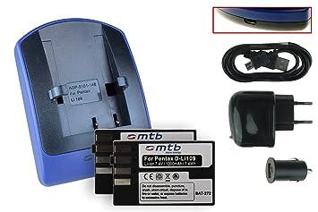 2 Baterìas + Cargador (USB/Coche/Corriente) D-Li109 para Pentax K-30, K-50, K-500, Kr, K-S1, K-S2