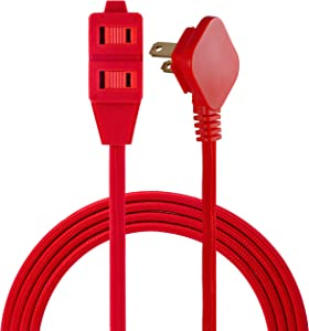 Cordinate Designer 3-Outlet Extension Cord, 2 Prong Power Strip, Extra Long 8 Ft Cable with Flat Plug, Braided Chevron Fabric Cord, Slide-to-Lock Safety Outlets, Bright Red, 39985