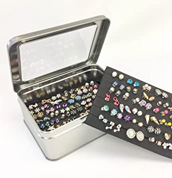Amazoncom Tin Jewelry Box Earring Holder Travel Jewelry Case