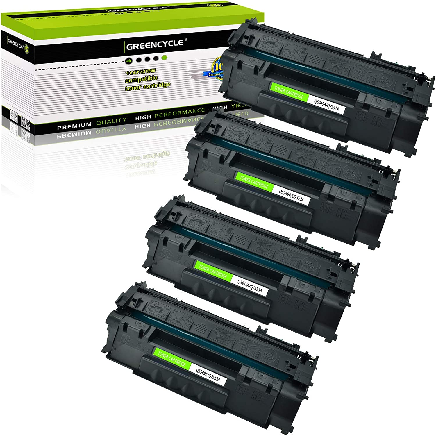 GREENCYCLE 4 Pack Q5949A 49A Black Toner Cartridge Compatible for HP Laserjet 1320NW 1160 Laser Printer