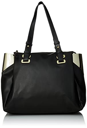 Amazon.com: French Connection Nixon Tote Bag, Black/Gold, One Size ...