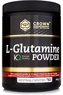 Crown Sport Nutrition L- Glutamina de calidad Kyowa, Suplemento para deportistas, Polvo sabor