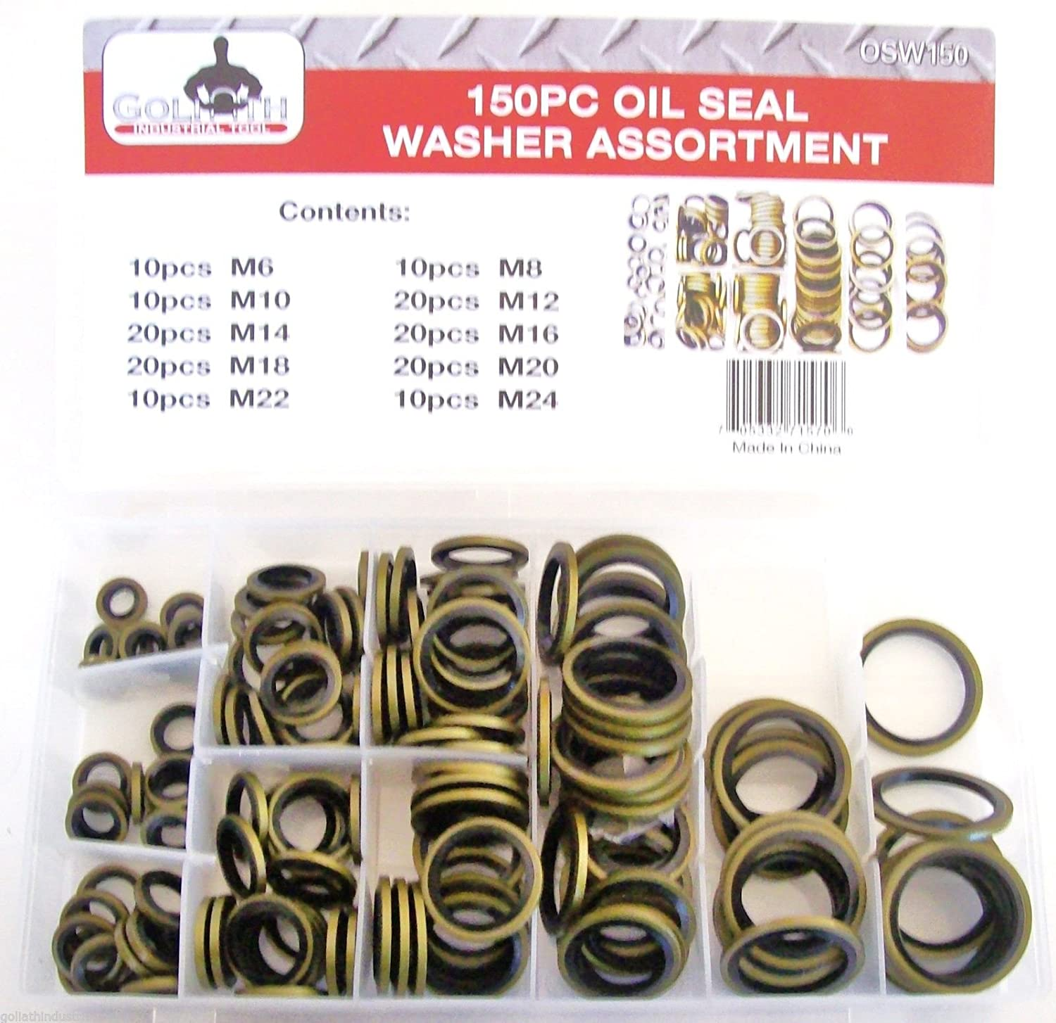 150pc Goliath Industrial Bonded Oil Seal Dowty Washer Assortment ...