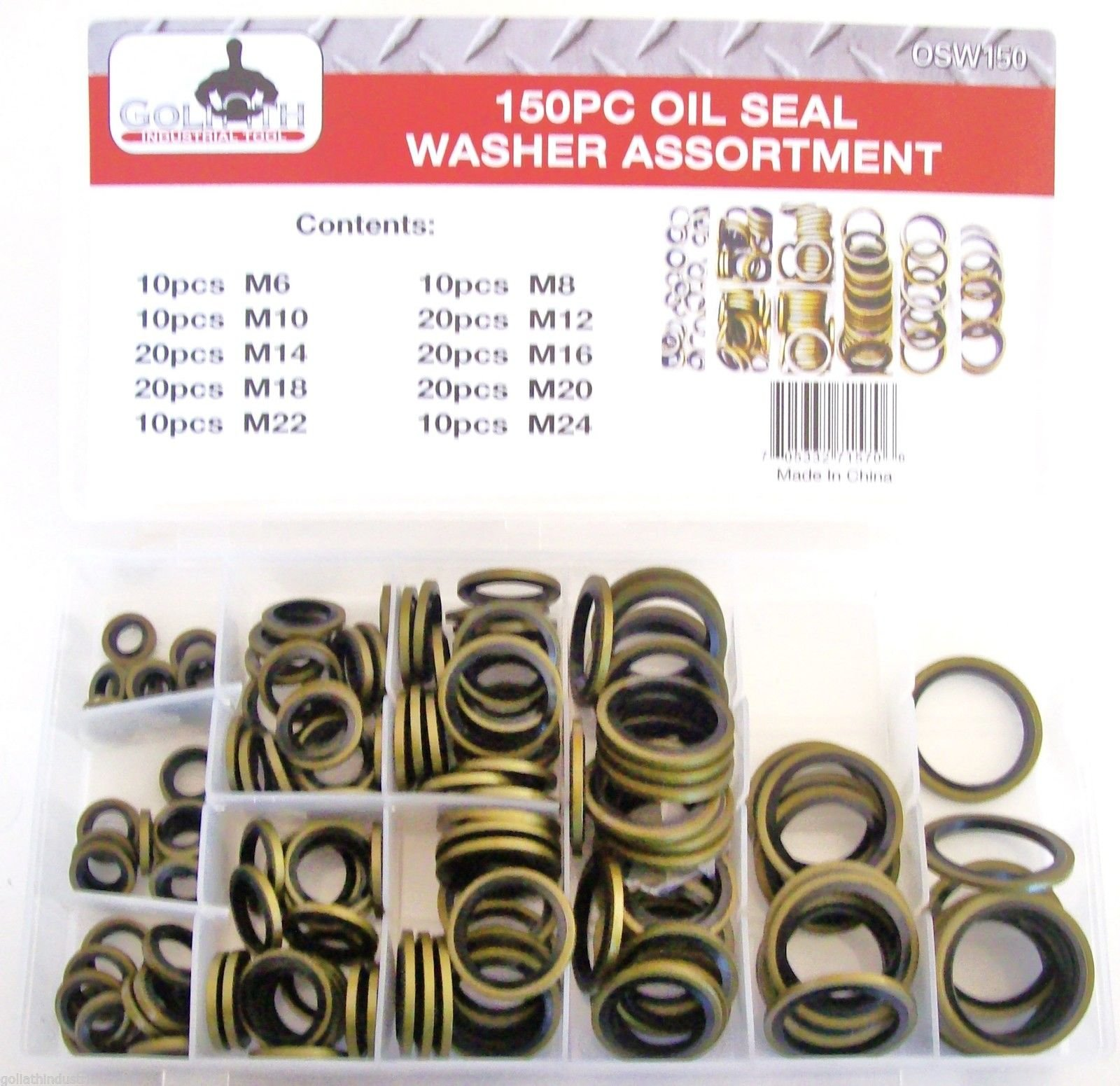 150pc Goliath Industrial Bonded Oil Seal Dowty Washer Assortment Metric OSW150