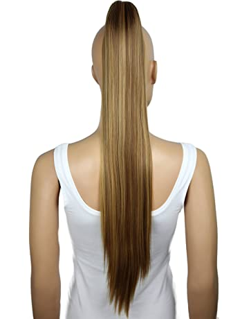 PRETTYSHOP Clip de en las extensiones postizos extensiones de cabello pelo liso largo hechos de fibras