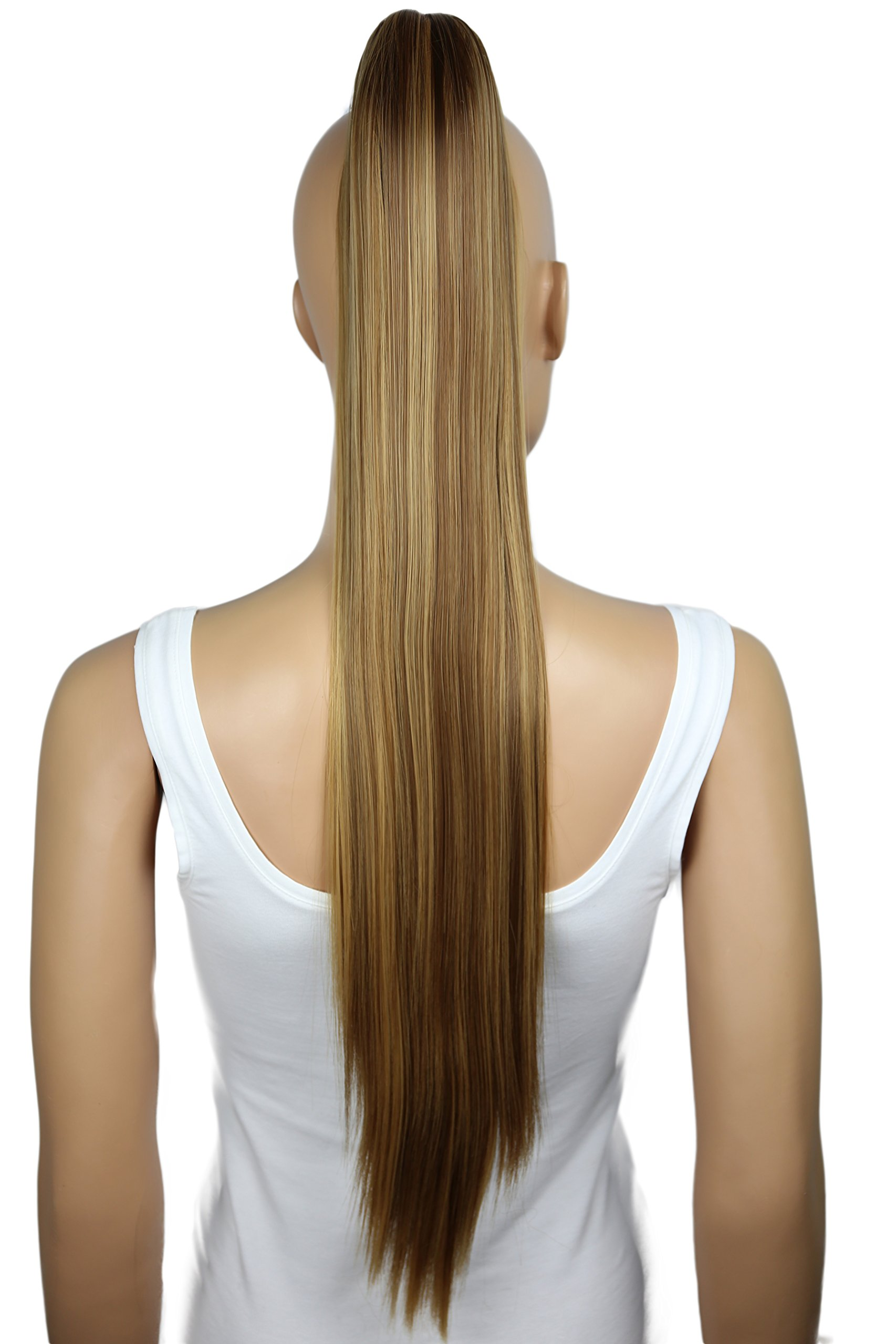 PRETTYSHOP Hairpiece Ponytail Clip on Extension Long hair smooth Heat-Resisting 27'' brown blond mix # 6H27 H165
