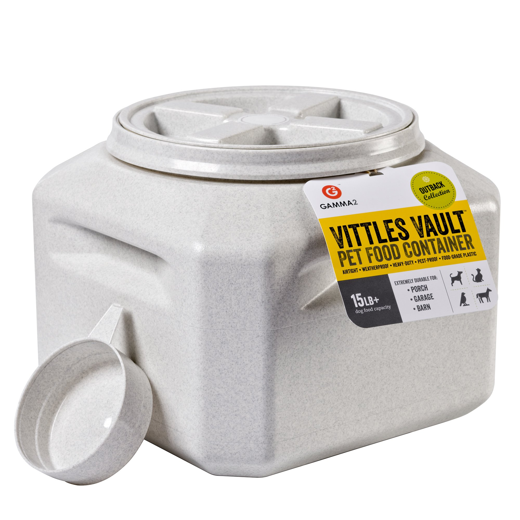 Gamma2 Vittles Vault Outback 15 lb Airtight Pet Food Storage Container