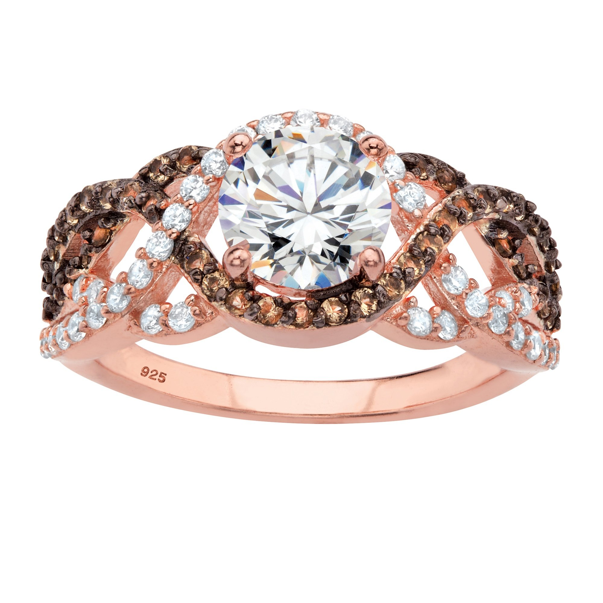 Rose Gold-plated Sterling Silver Round Cubic Zirconia Simulated Smoky Topaz Crossover Ring Size 6