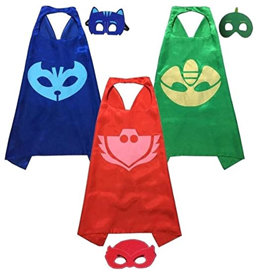 5 opinioni per PJ Masks Costumes For Kids Set of 3 Catboy Owlette Gekko Costumes- 3 Satin Capes