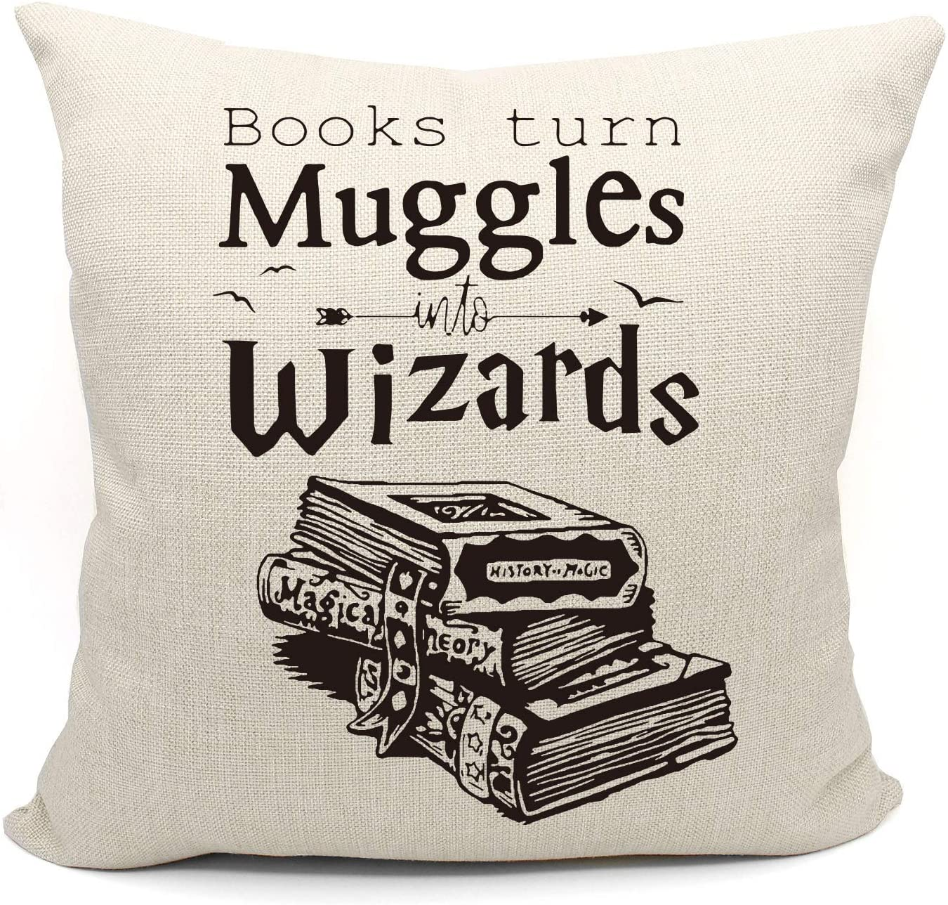 Mancheng-zi Funny Quotes Books Turn Muggles Into Wizards Throw Pillow Case, Great Gift for Book Lover, College Dormitory Decor, Decorative Cotton Linen Cushion Cover for Sofa Couch Club18 x 18 Inch
