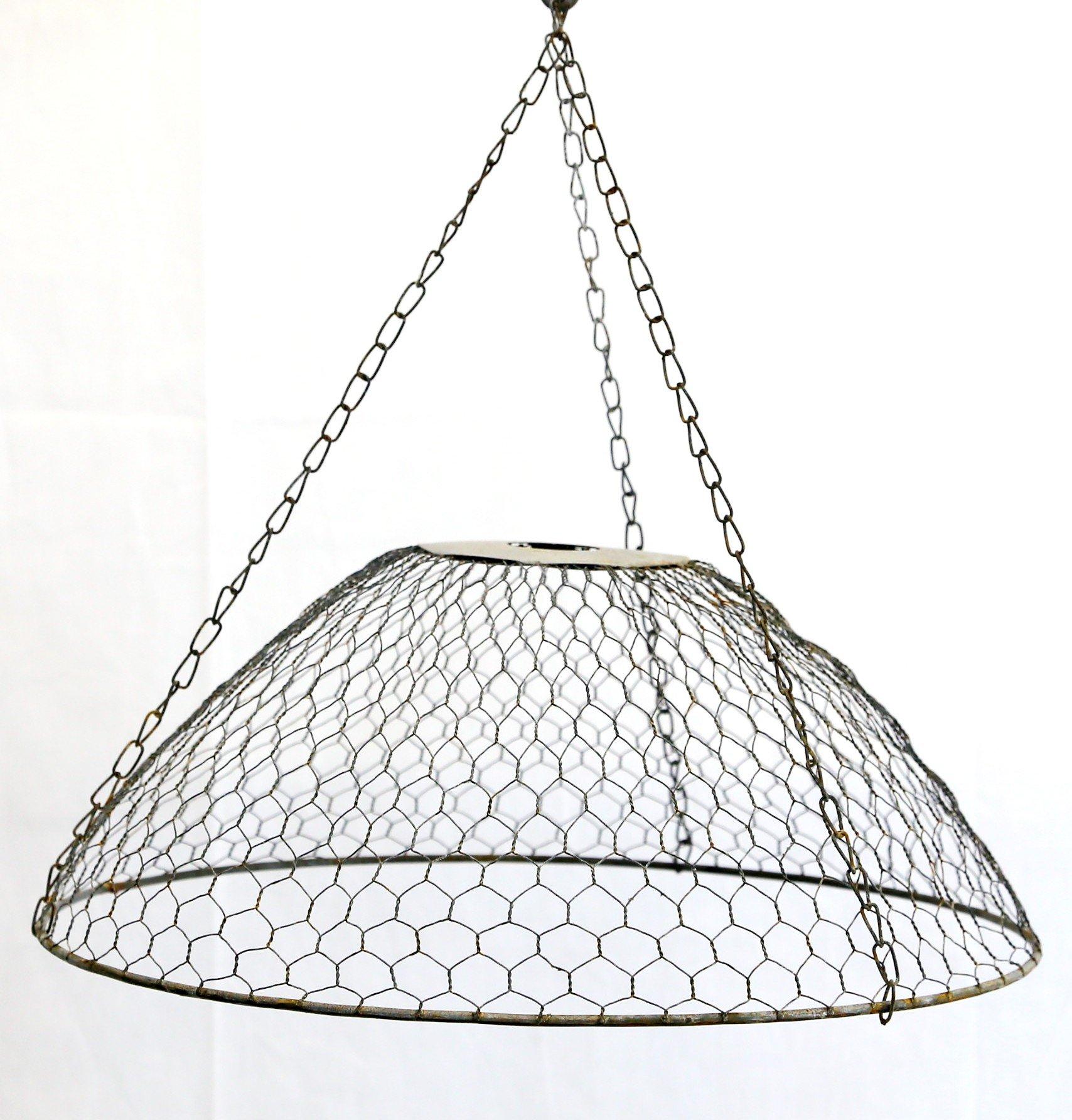 Gray Zinc Chicken Wire Lamp Shade