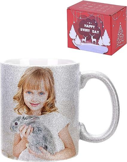 10oz Magic Heat Collage Photo Mug Gift Personalised Heat Change Mug with Six Photo Collage Personalise 6 Photos