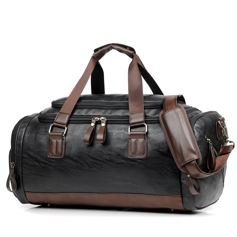 3700082424ee Amazon.com   Leather Gym Bag for Men Travel Weekender Overnight ...
