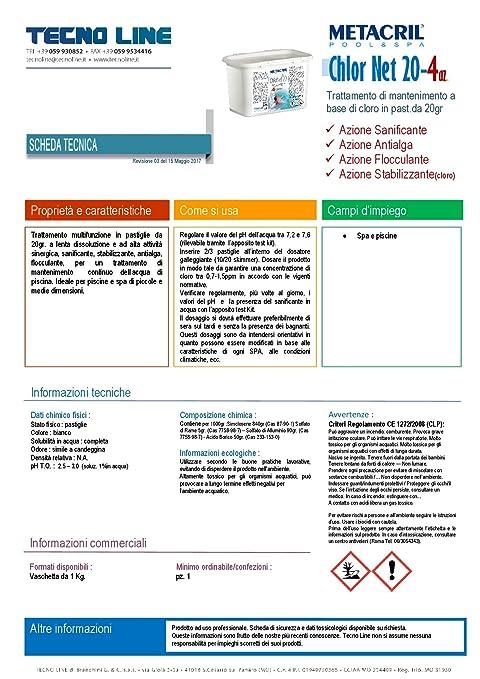 Metacril Chlor Net 20 4 Azioni 5 kg. multiazione (Pastillas de 20 gr. - Tricloro estabilizado Activo al 90% - sanificante, antialga, SOS eau trouble a ...