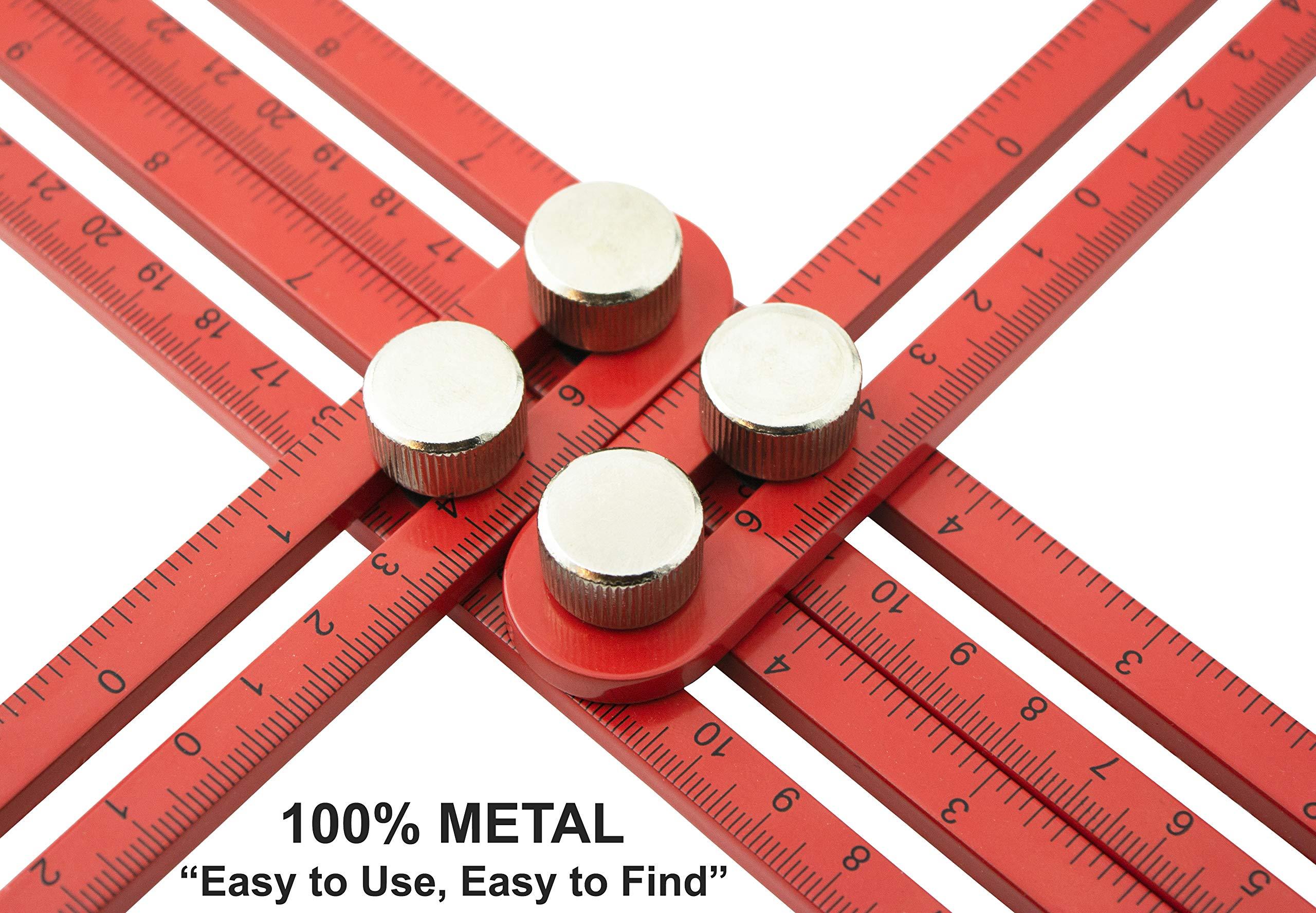 GoodLife USA - Original RED Aluminum Alloy Multi Angle Measuring Ruler - Universal Angleizer - Template Layout tool - Scale Ruler - Angularizer ruler - Multi Functional Angle measurement tool (RED)