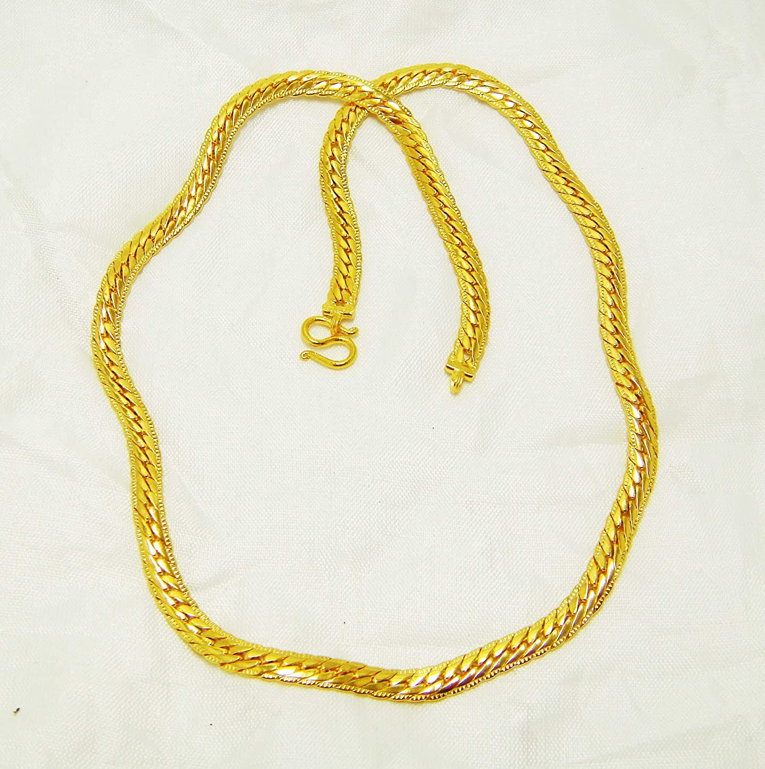 Chain Link 23k 24k Thai Baht Yellow Gold Plated Filled Snake Necklace Jewelry Women 24 inch 34 Grams 7 MM Mens