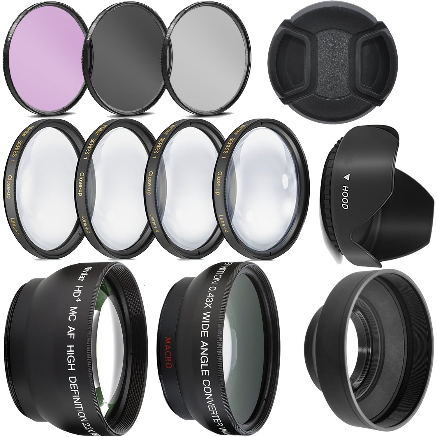 Ultra Deluxe Lens Kit for Canon Rebel T3, T5, T5i, T6, T6i, T7i, EOS 80D, EOS 77D Cameras with Canon EF-S 18-55mm is II STM Lens - Includes: 7pc 58mm Filter Set + 58mm Wide Angle and Telephoto Lens by Big Mike's