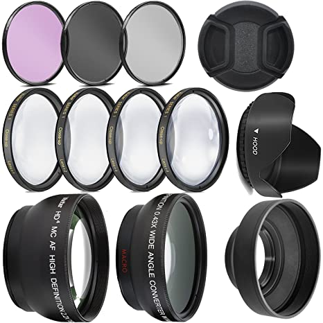 Ultra Deluxe Lens Kit for Canon Rebel T3, T5, T5i, T6, T6i, T7i, EOS 80D,  EOS 77D Cameras with Canon EF-S 18-55mm IS II STM Lens - Includes: 7pc 58mm
