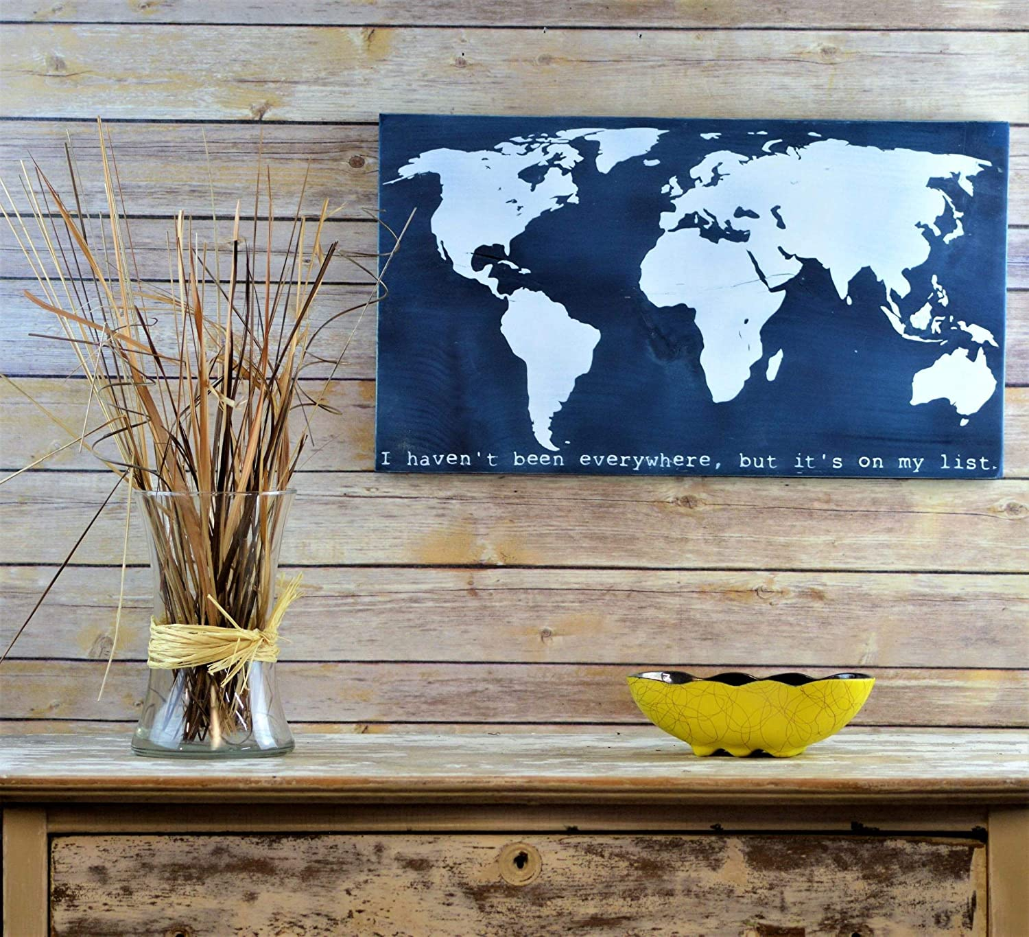 43LenaJon World Map Wooden Sign, Gift for Travelers,Wall Art Hanging Wood Sign Rustic,Welcome Wooden Sign,Custom Wood Board