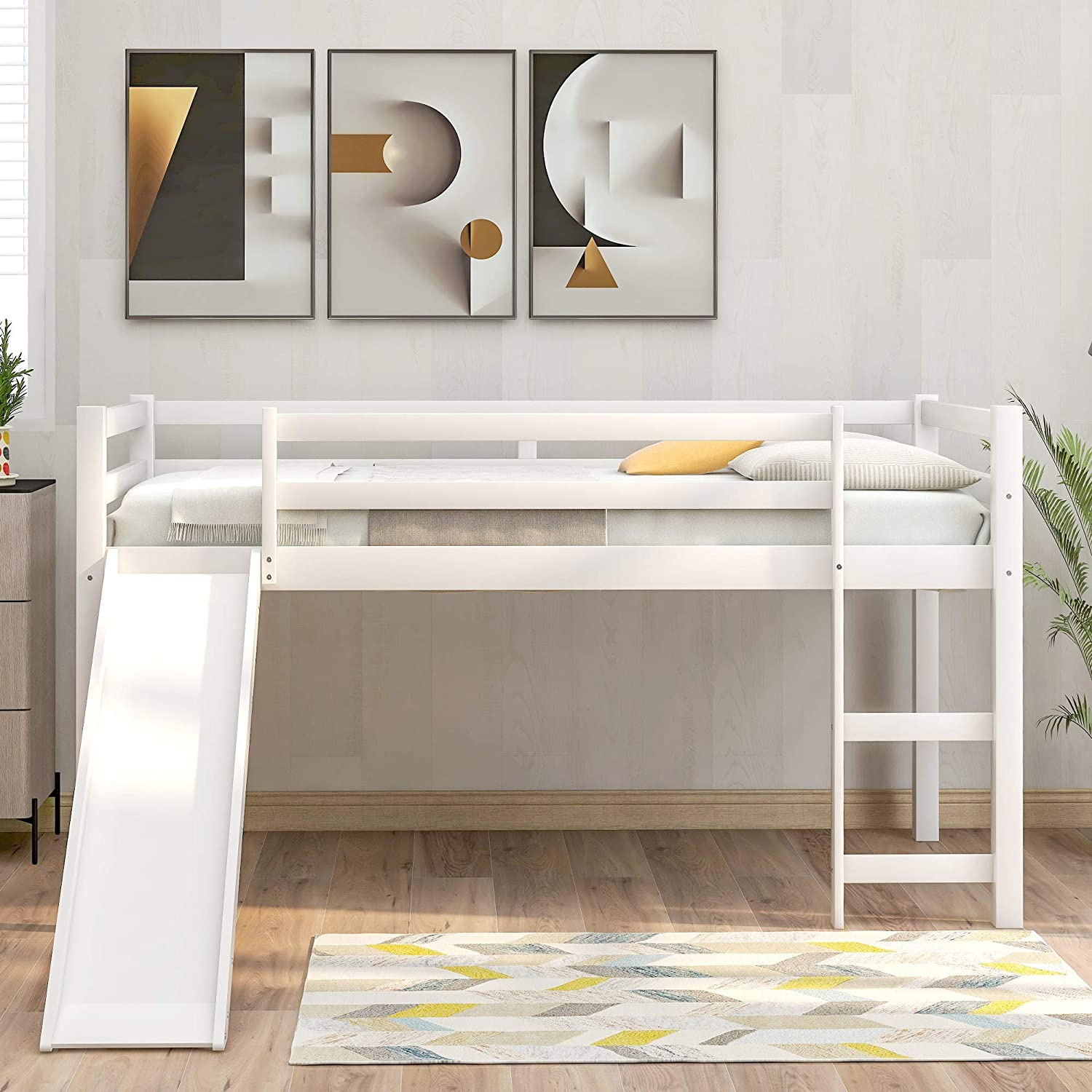Twin Loft Bed With Slide For Kids Wood Low Sturdy Loft Bed No Box Spring Needed White Kitchen Dining