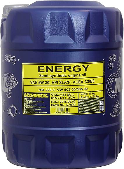60l Mannol Energy 5w 30 Api Sl Cf Öl Motoröl Mn7511 20 Inkl Auslaufhahn Auto
